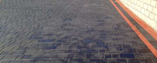 Petra Paving in Charcoal with double red borders 2 in Hala Lancaster