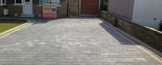 Petra Paving in Charcoal with double buff borders 4 in Halton Lancaster