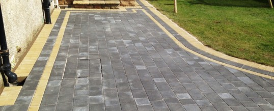 Petra Paving in Charcoal with double buff borders in Halton Lancaster