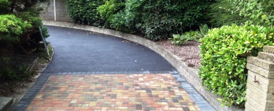 Tarmac with Autumn Mix block paving and charcoal border Morecambe