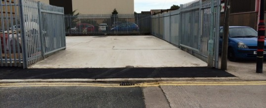 Vickers Ind Est Tarmac entrance and pavement with Palaside Fencing and Gate 2