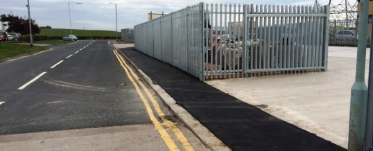 Vickers Ind Est Tarmac entrance and pavement with Palaside Fencing and Gate